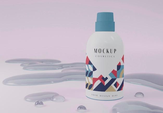 Arreglo de producto cosmético y burbujas