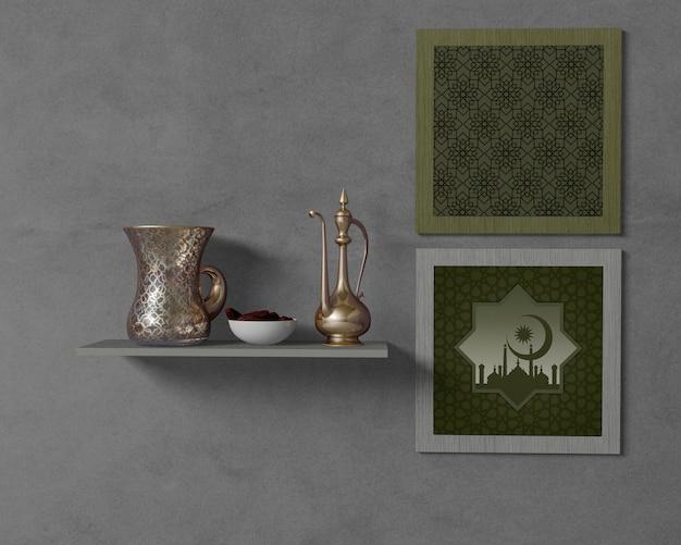 Arreglo religioso del ramadán con maqueta de marcos