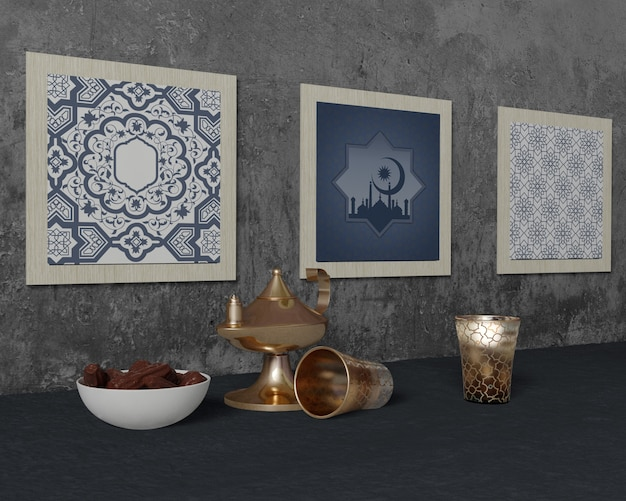 Arreglo tradicional de ramadán con maqueta de marcos