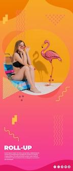 Arrotolare il modello di banner in stile memphis con il concetto di estate