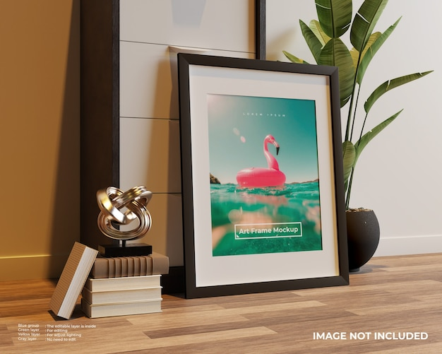 Art frame poster mockup op de vloer leunend tegen de kast