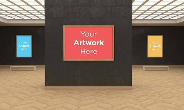 Art gallery drie frames muckup 3d-illustratie en 3d-rendering