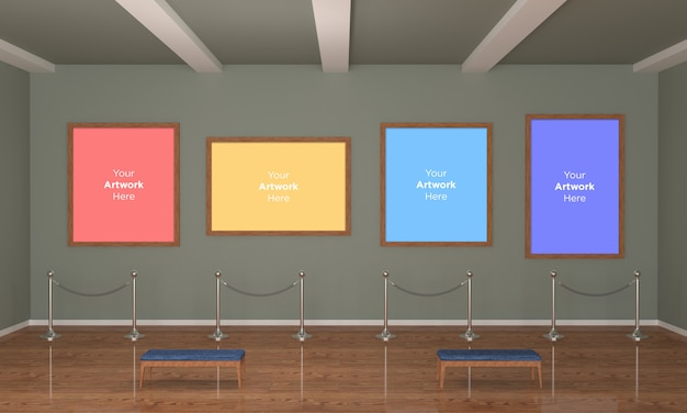 Art gallery four frames muckup ilustración 3d y renderizado 3d