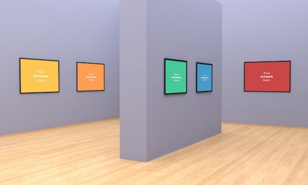Art gallery frames muckup 3d-illustratie en 3d-rendering met verschillende muur