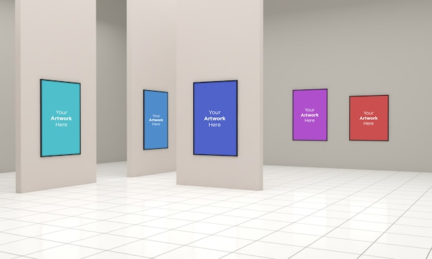 Art gallery frames muckup 3d-illustratie en 3d-weergave met verschillende richtingen