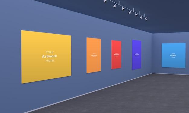 Art gallery frames muckup con focos vista de esquina de ilustración 3d