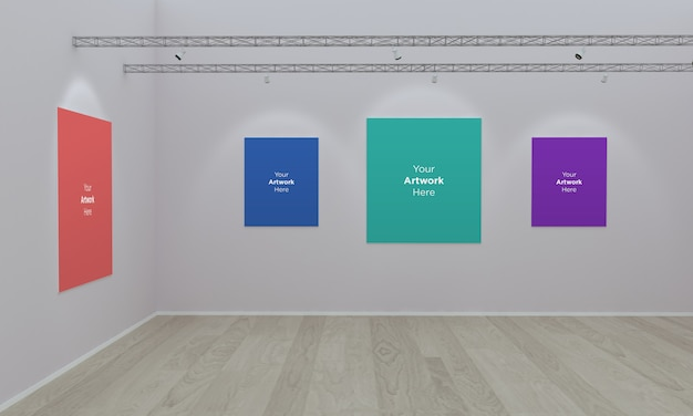 Art gallery frames muckup ilustración 3d y renderizado 3d con diferentes direcciones