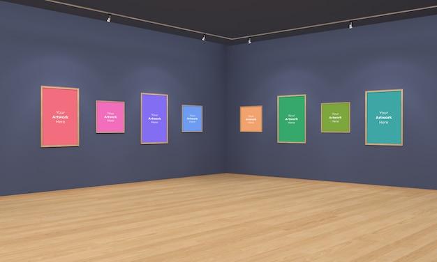 Art gallery frames muckup ilustración 3d y vista de esquina de renderizado 3d con focos
