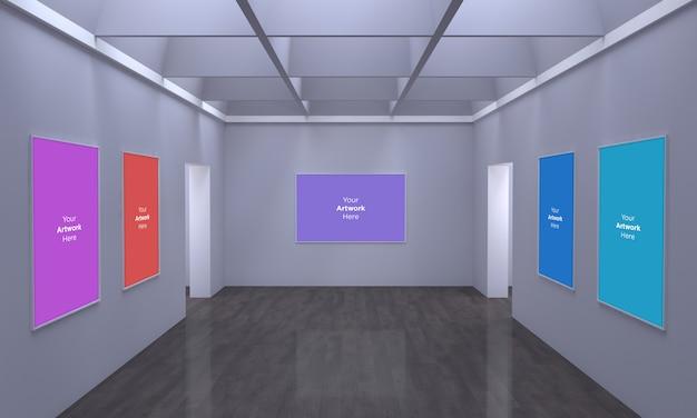 Art gallery frames muckup multi-richtingen 3d-afbeelding