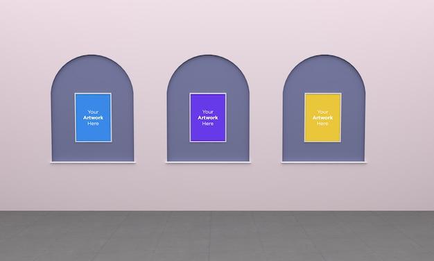 Art gallery three frames muckup 3d-illustratie met boogontwerp