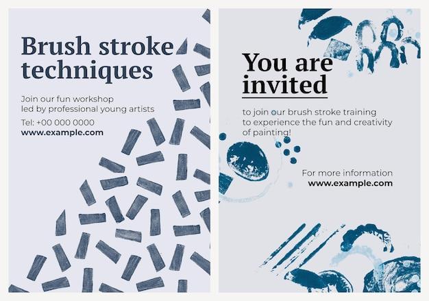 Art workshop poster sjabloon psd met stempelpatroon set
