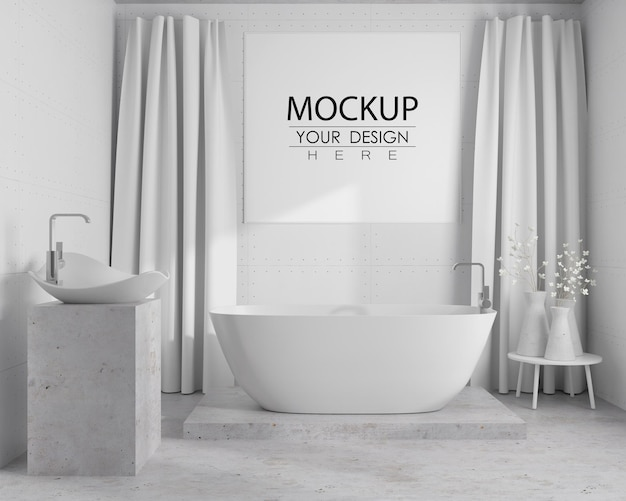 Arte de pared o maqueta de marco de imagen en el interior del baño