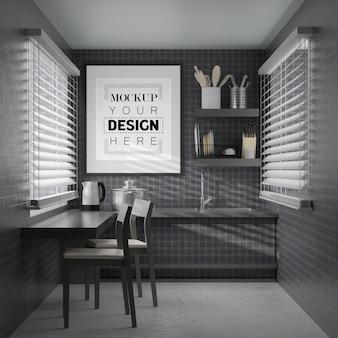 Arte de pared o maqueta de marco de imagen en el interior de la habitación de la cocina