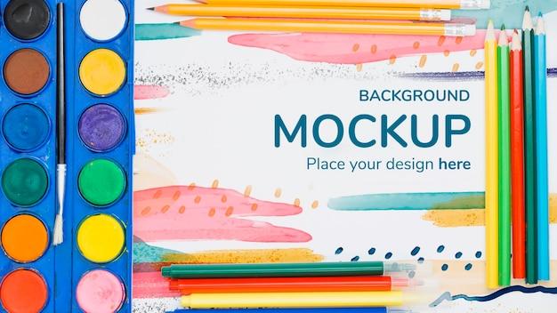 Artist concept compositie met papieren mock-up