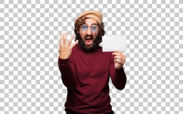 Artista francés con una boina y sosteniendo un cartel.