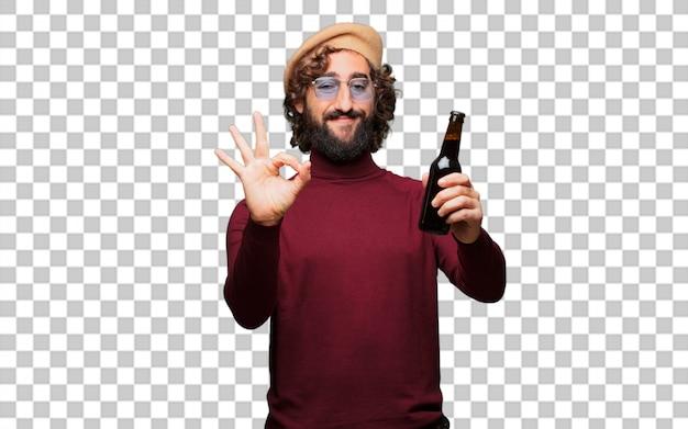 Artista francés con una boina sosteniendo una cerveza.