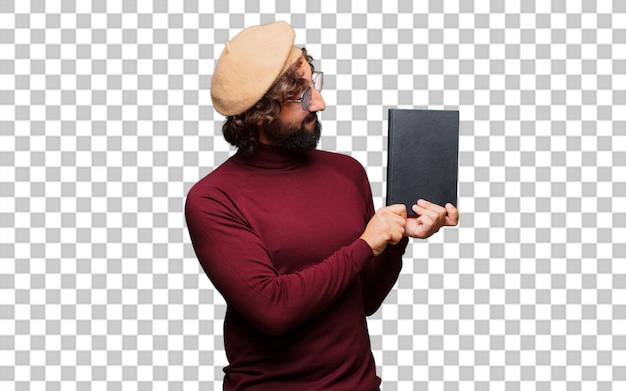 Artista francés con una boina sosteniendo un libro.