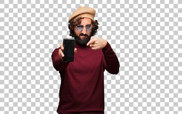 Artista francese con un berretto e un telefono cellulare