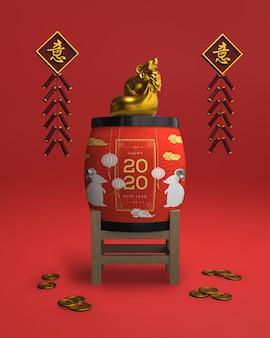 Artistieke ornamenten voorbereid op het nieuwe jaar