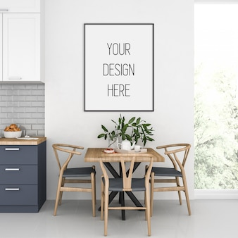 Artwork mockup, keuken interieur met verticale frame, scandinavisch interieur