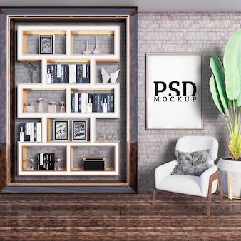 Asiento de lectura con estantes decorativos y marco.