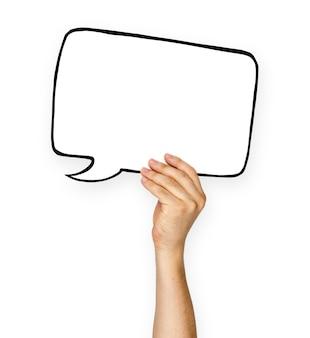 Asimiento de la mano en blanco discurso burbuja copia espacio