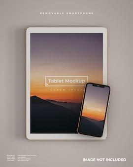Aspecto de maqueta de tableta y teléfono inteligente