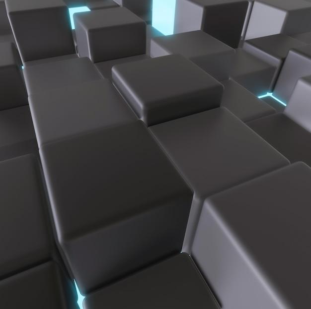 Assortiment gloeiende en donkere kubussen