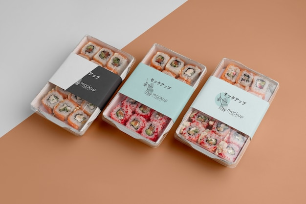 Assortiment japans fastfood met mock-up verpakking