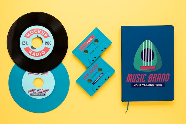 Assortiment met vinylplaten mock-up