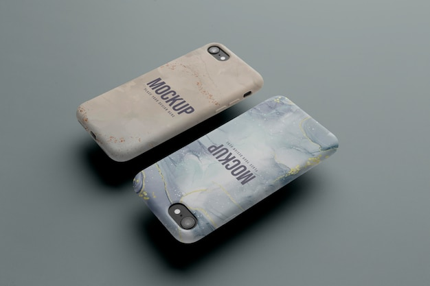 Assortiment mock-up mobiele telefoonhoesjes