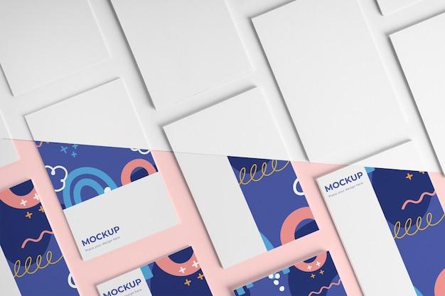Assortiment patroon visitekaartje mock-up