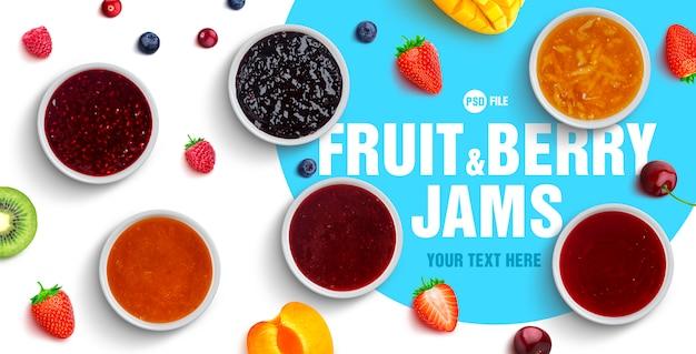 Assortiment van bessen en fruitjam
