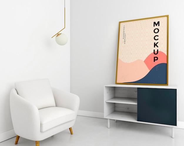 Assortimento soggiorno vista frontale con cornice mock-up