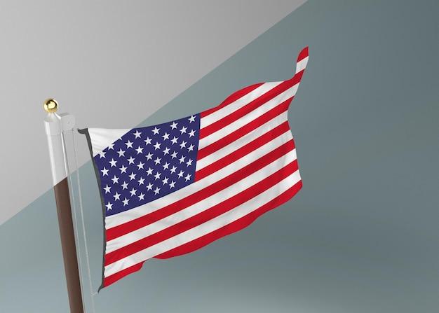 Asta de bandera con la bandera de estados unidos