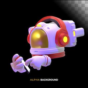 Astronaut die zijn mobiele telefoon controleert. 3d illustratie