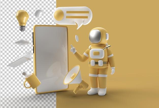 Astronaut hand wijzende vinger leeg scherm mockup