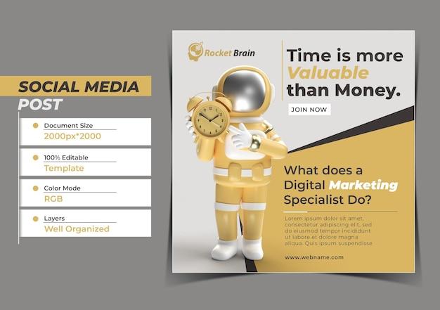 Astronaut met klok digital concept instagram post banner templ