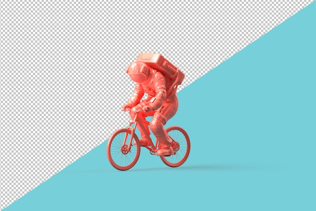 Astronaut op een fiets. minimalistisch concept