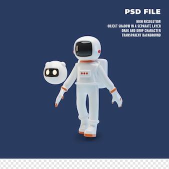 Astronauta 3d con el robot