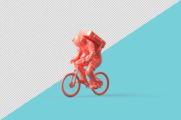 Astronauta en bicicleta. concepto minimalista