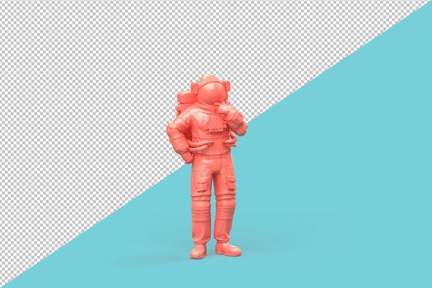 El astronauta de pie en el trazado de recorte de pose pensativa