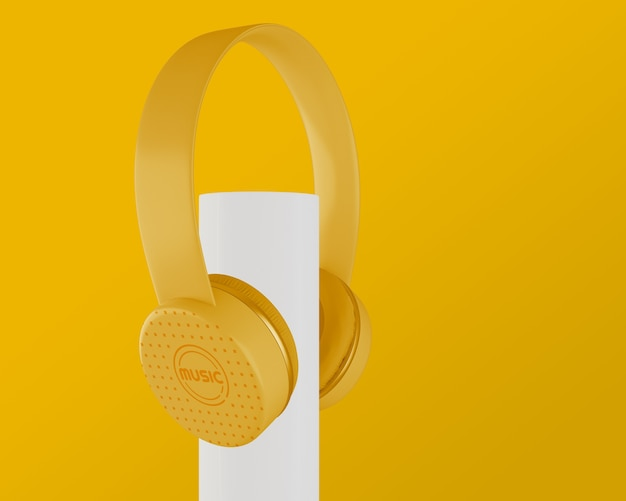 Auriculares de los años 80 con fondo amarillo