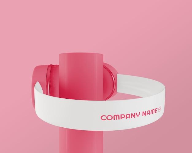 Auriculares de los años 80 con fondo rosa