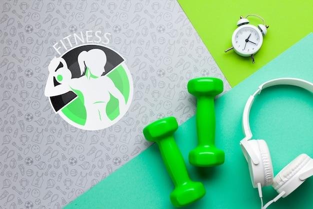 Auriculares de fitness y medición de tiempo.