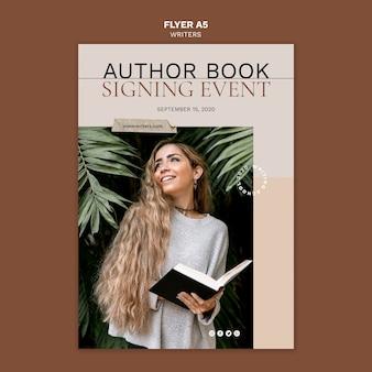 Auteur boek ondertekening evenement folder sjabloon