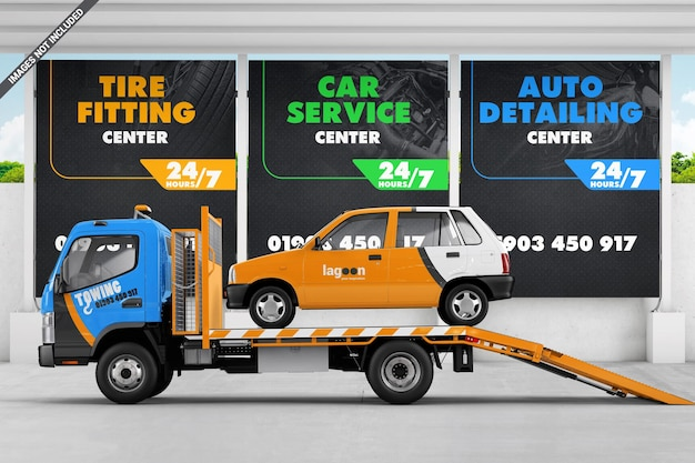 Auto op een sleepwagen in de buurt van het model van de reclameborden voor autoservice