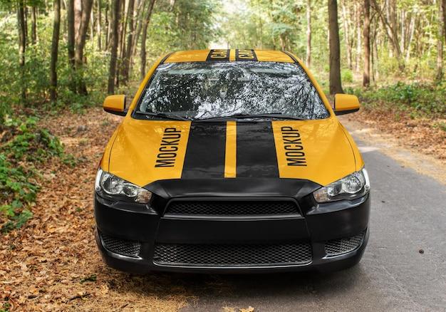Auto sedan mockup vooraanzicht