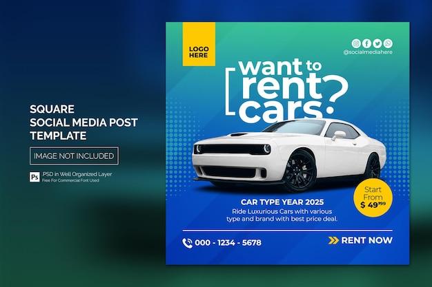 Auto social media instagram post of vierkante webbanner advertentiesjabloon