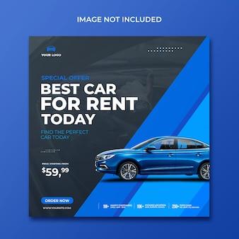 Autoverhuur verkoop promotie sociale media instagram post in blauwe achtergrond sjabloon
